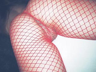 Young slut in fishnet comes while spanking