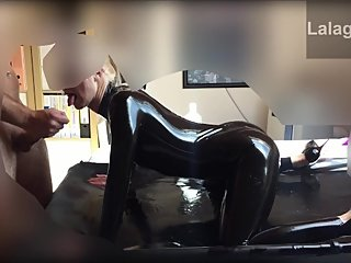 Nice load on my latex lover face