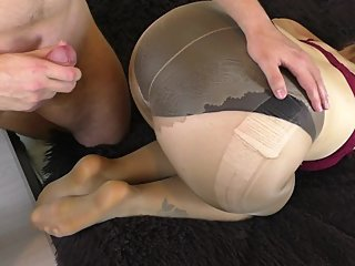 Amateur Teen in Pantyhose Blowjob and Footjob - Cum on Feet