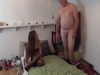 Tiny babe with small tits gets creampie from shy boy with small cock