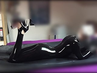 Super skinny latex blonde gets rubbed some dick