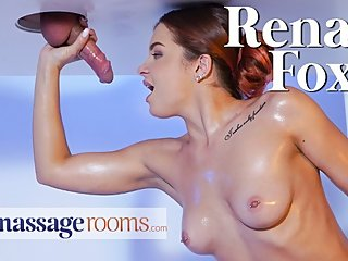Massage Rooms Creampie for hot babe Renata Fox after milking cock