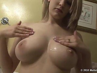 Bree Daniels plays with her big beautiful tits in the bathroom