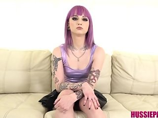 Teen squirts all over in her first casting
