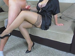 Cum on legs in stockings StepSister
