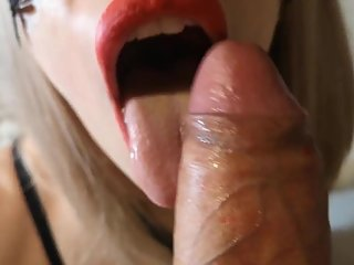 Hot blonde girl suck a big dick