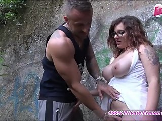 german normal girl next door with glasses make outdoor threesome mmf