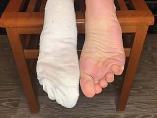 School girl in dirty white socks show stinky foot sniffing pov