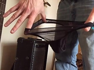 Teen hides thong in stepfathers bass guitar