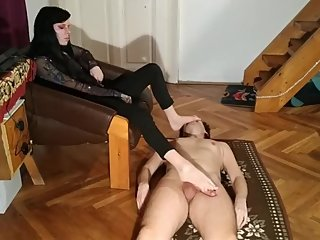 Bare feet face & cock teasing with slave masturbation HD FULL