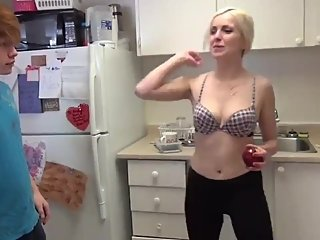 Sexy blonde stepsis seduces her older perverted stepbrother
