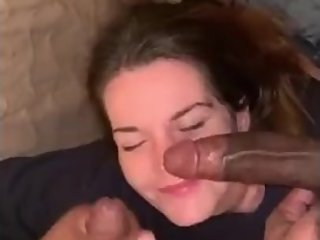 College girl double bbc blowjob