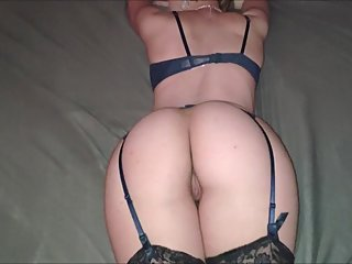 Girl in stockings sucks dick and gets creampied from behind