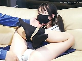 Cute Chinese girl in schoolgirl outfit gets bound and vibed