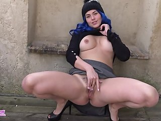 Young French Girl Very Naughty with blue hair makes herself cum outside