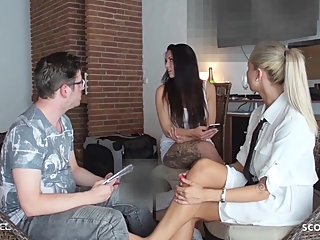 Girlfriend caught BF get Footjob Cheating by German Broker