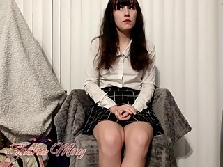 School girl confess to daddy and get punished, JOI